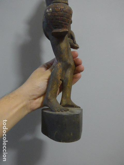 Arte: Antigua escultura de madera tallada asiatica, un pescador, original. - Foto 13 - 228480805