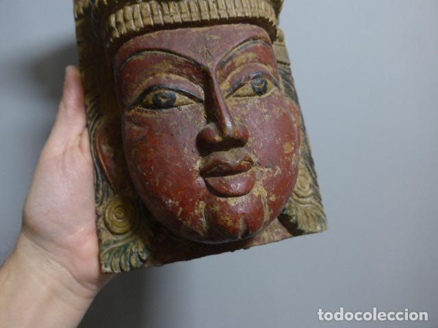 Arte: Antigua mascara india de madera tallada, original, de bombay, asiatica. - Foto 2 - 229259650