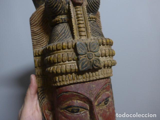 Arte: Antigua mascara india de madera tallada, original, de bombay, asiatica. - Foto 3 - 229259650