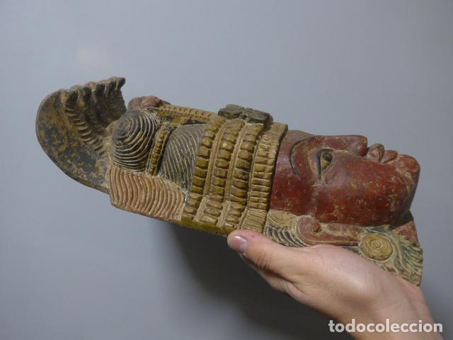 Arte: Antigua mascara india de madera tallada, original, de bombay, asiatica. - Foto 5 - 229259650