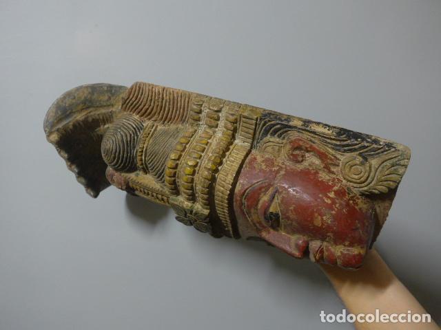 Arte: Antigua mascara india de madera tallada, original, de bombay, asiatica. - Foto 7 - 229259650