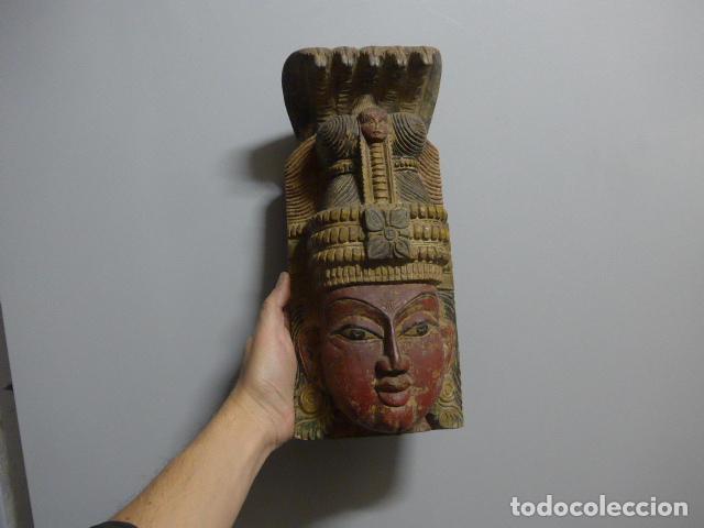 ANTIGUA MASCARA INDIA DE MADERA TALLADA, ORIGINAL, DE BOMBAY, ASIATICA. (Arte - Étnico - Asia)