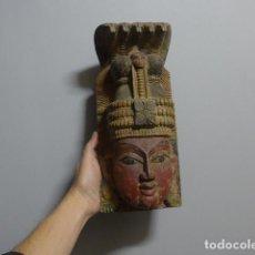 Arte: ANTIGUA MASCARA INDIA DE MADERA TALLADA, ORIGINAL, DE BOMBAY, ASIATICA.. Lote 229259650
