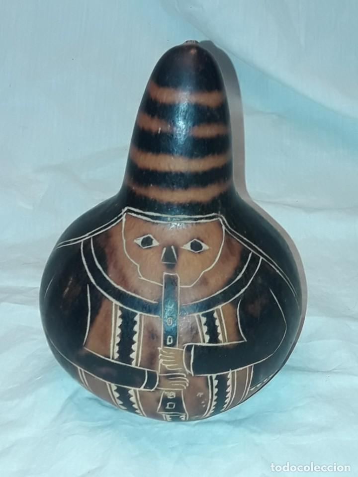 BELLA GRAN CALABAZA TALLADA PERÚ (Arte - Étnico - América)