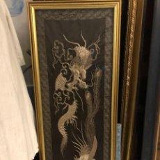 Arte: GRAN BORDADO CHINO EN PLATA, DRAGONES. Lote 231454490