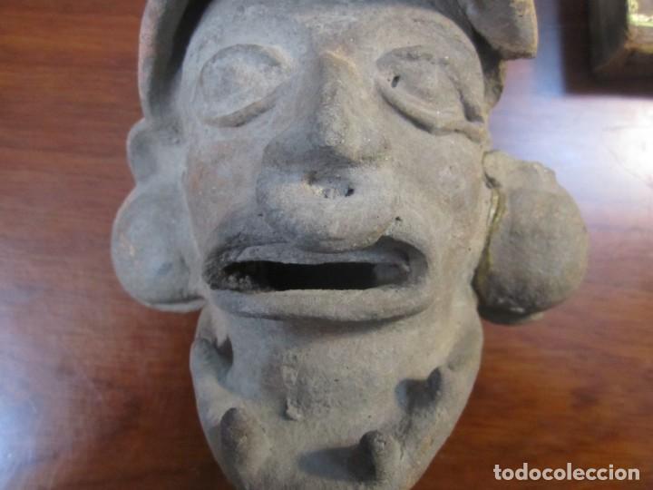 Arte: CABEZA EN TERRACOTA DE HOMBRE JAGUAR FIGURA PRECOLOMBINA -MEXICO-- 14 CM - Foto 2 - 231563150