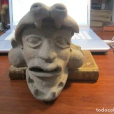 Arte: CABEZA EN TERRACOTA DE HOMBRE JAGUAR FIGURA PRECOLOMBINA -MEXICO-- 14 CM. Lote 231563150