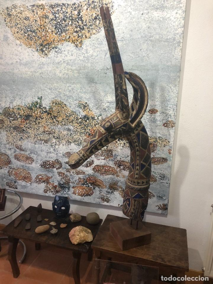 MASCARA AFRICANA TOCADO ANTÍLOPE ADONÉ TRIBU KURUMBA DE BURKINA FASO, ARTE TRIBAL, DE EXPOSICIÓN (Arte - Étnico - África)