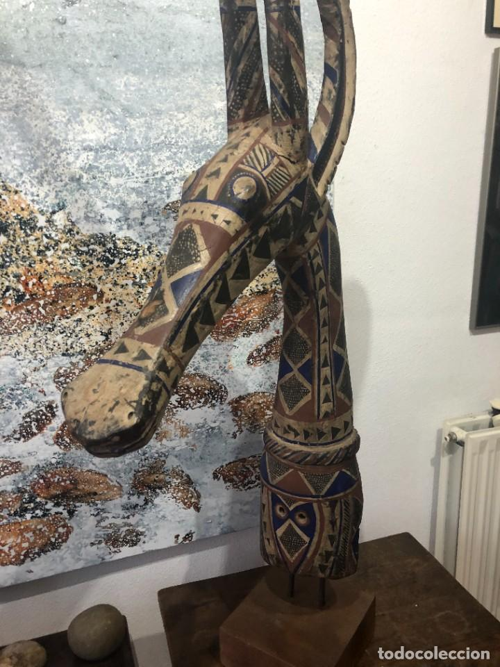 Arte: Mascara africana Tocado Antílope Adoné tribu Kurumba de Burkina Faso, arte tribal, de exposición - Foto 4 - 232181690