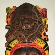 Arte: MASCARA MEXICANA CULTURA MAYA TALLADA Y PINTADA A MANO. Lote 232243700