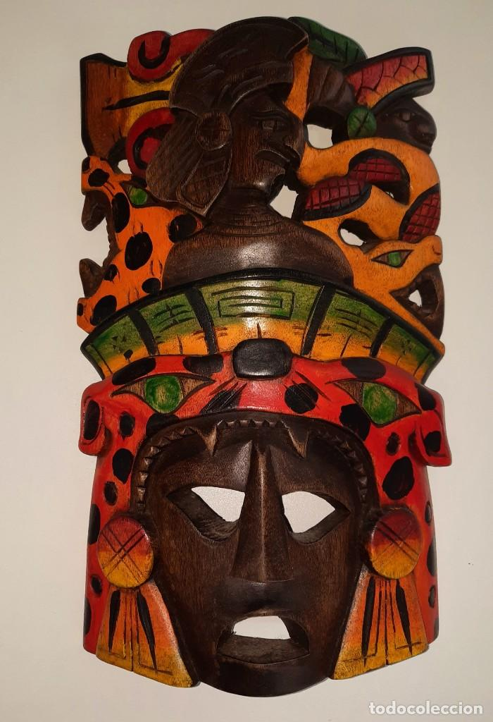 MASCARA MEXICANA CULTURA MAYA TALLADA Y PINTADA A MANO (Arte - Étnico - Europa)