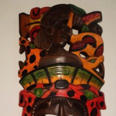Arte: MASCARA MEXICANA CULTURA MAYA TALLADA Y PINTADA A MANO. Lote 232243760