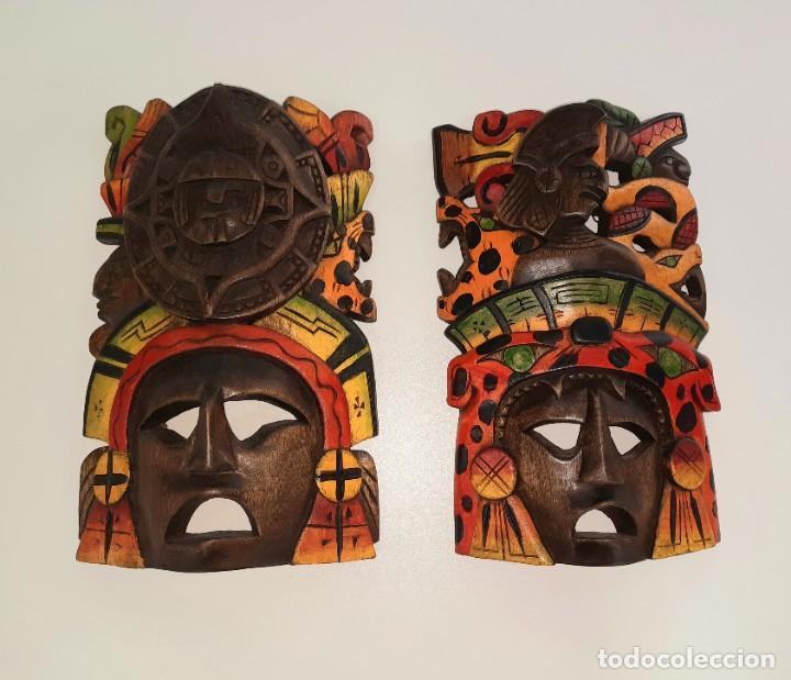 Arte: Mascara Mexicana Cultura Maya tallada y pintada a mano - Foto 3 - 232243760