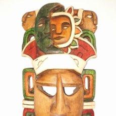 Arte: MASCARA MEXICANA CULTURA MAYA TALLADA Y PINTADA A MANO. Lote 232243805