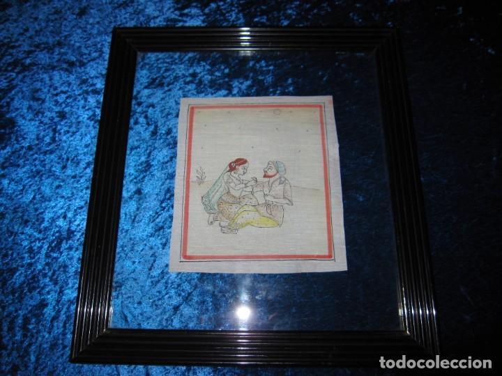 Arte: Cuadro pintura miniatura oriental India hindú seda doble cristal - Foto 3 - 232625322