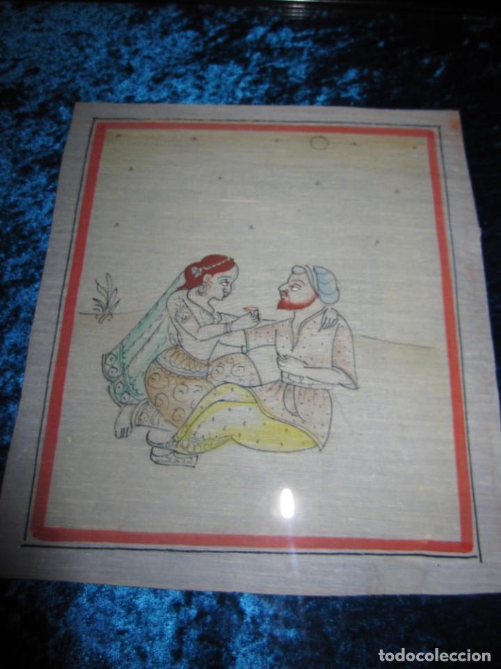 Arte: Cuadro pintura miniatura oriental India hindú seda doble cristal - Foto 4 - 232625322