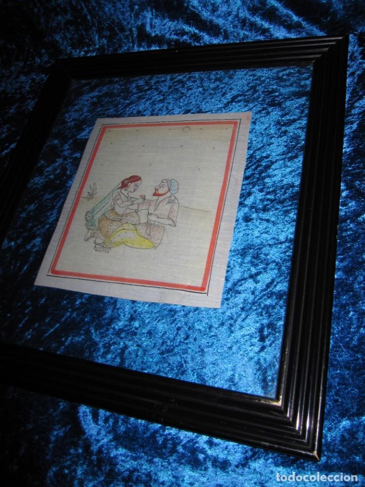 Arte: Cuadro pintura miniatura oriental India hindú seda doble cristal - Foto 5 - 232625322