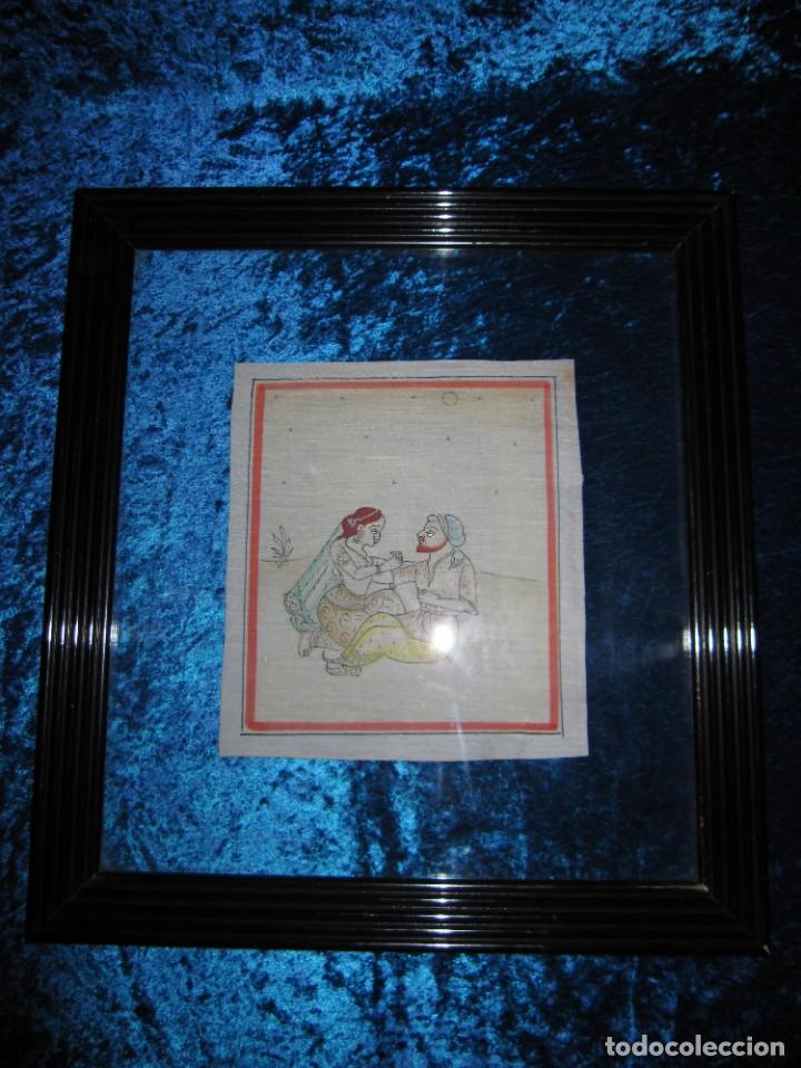 Arte: Cuadro pintura miniatura oriental India hindú seda doble cristal - Foto 6 - 232625322