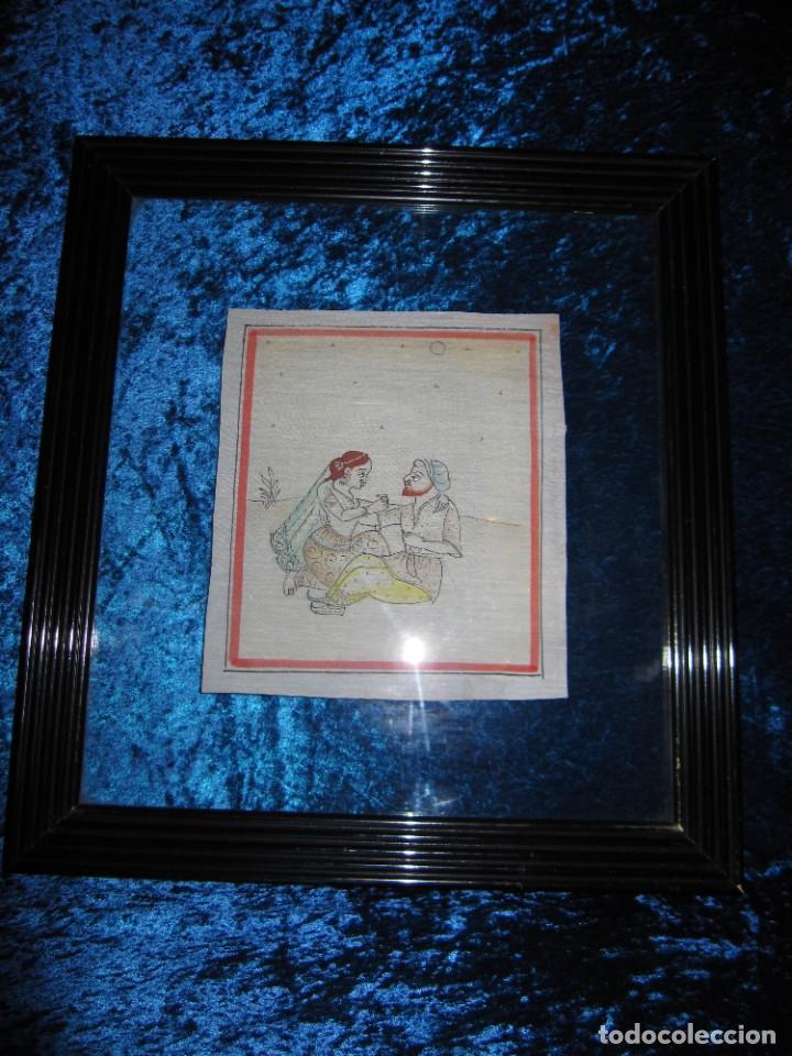 Arte: Cuadro pintura miniatura oriental India hindú seda doble cristal - Foto 7 - 232625322