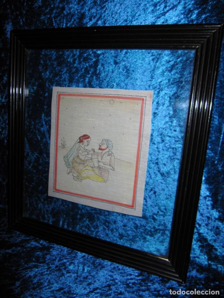 Arte: Cuadro pintura miniatura oriental India hindú seda doble cristal - Foto 8 - 232625322
