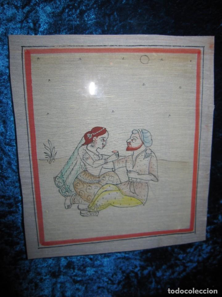 Arte: Cuadro pintura miniatura oriental India hindú seda doble cristal - Foto 9 - 232625322