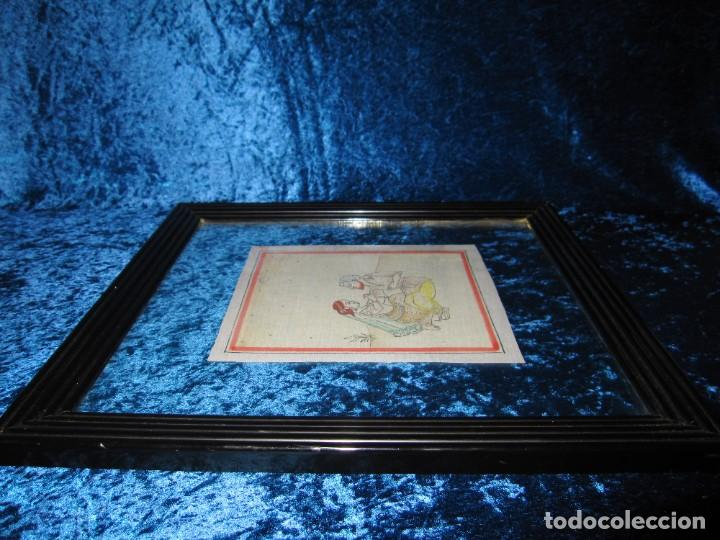 Arte: Cuadro pintura miniatura oriental India hindú seda doble cristal - Foto 10 - 232625322