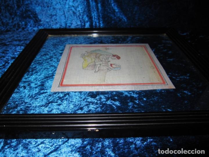 Arte: Cuadro pintura miniatura oriental India hindú seda doble cristal - Foto 11 - 232625322