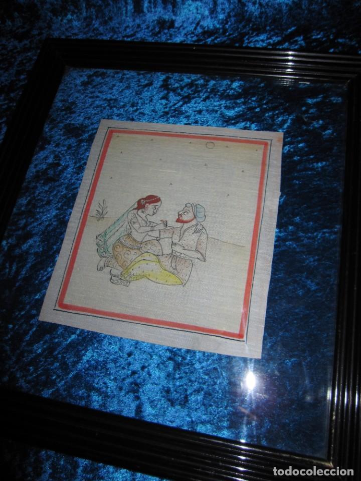 Arte: Cuadro pintura miniatura oriental India hindú seda doble cristal - Foto 12 - 232625322