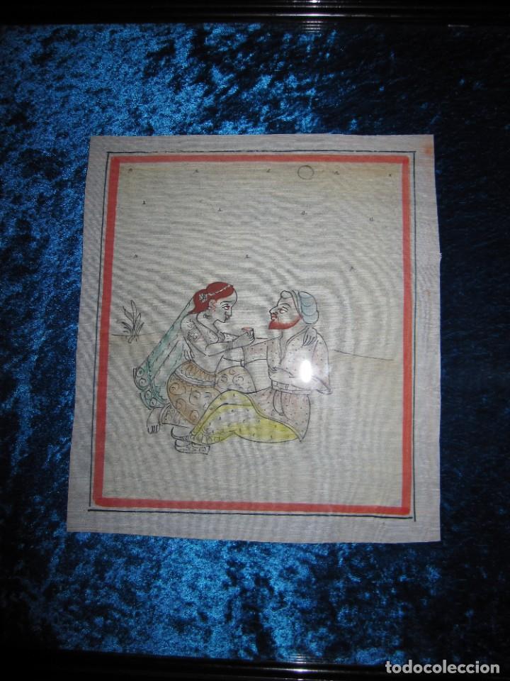 Arte: Cuadro pintura miniatura oriental India hindú seda doble cristal - Foto 13 - 232625322