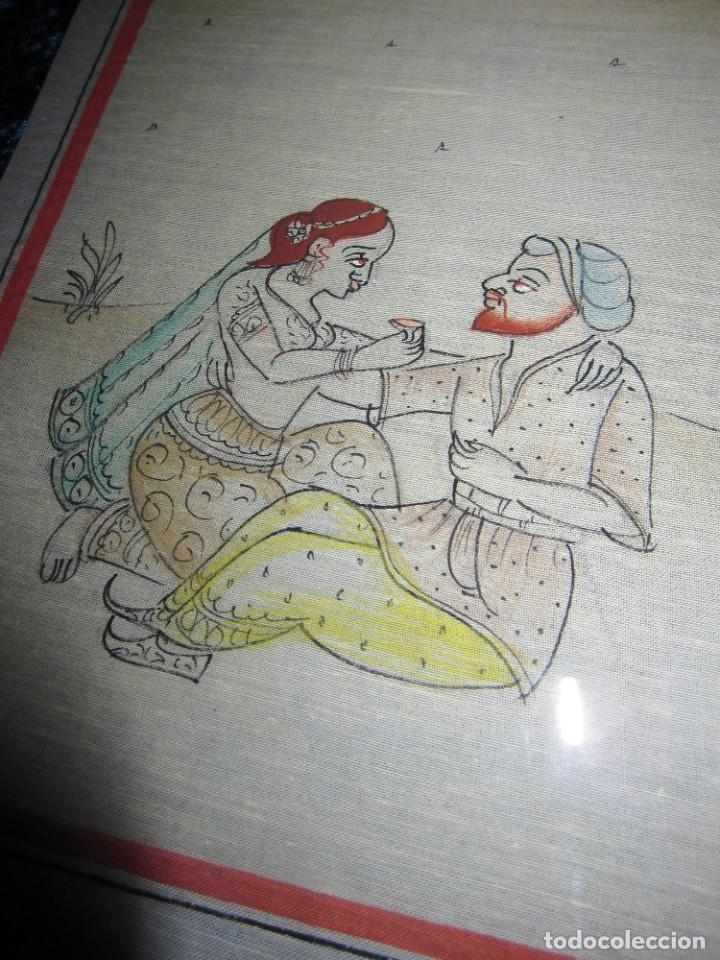Arte: Cuadro pintura miniatura oriental India hindú seda doble cristal - Foto 14 - 232625322