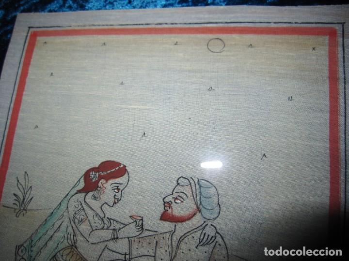Arte: Cuadro pintura miniatura oriental India hindú seda doble cristal - Foto 15 - 232625322