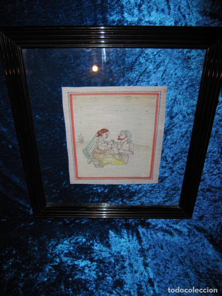Arte: Cuadro pintura miniatura oriental India hindú seda doble cristal - Foto 19 - 232625322