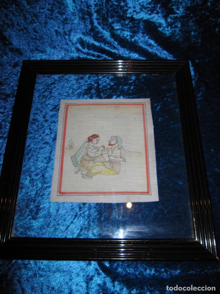 Arte: Cuadro pintura miniatura oriental India hindú seda doble cristal - Foto 20 - 232625322