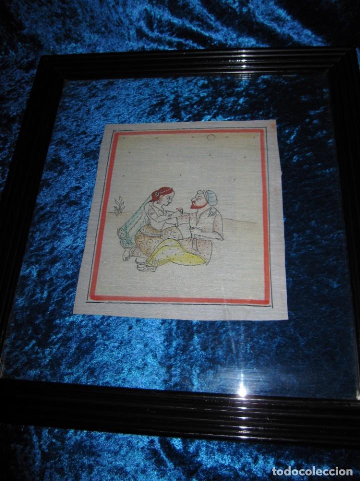 Arte: Cuadro pintura miniatura oriental India hindú seda doble cristal - Foto 21 - 232625322