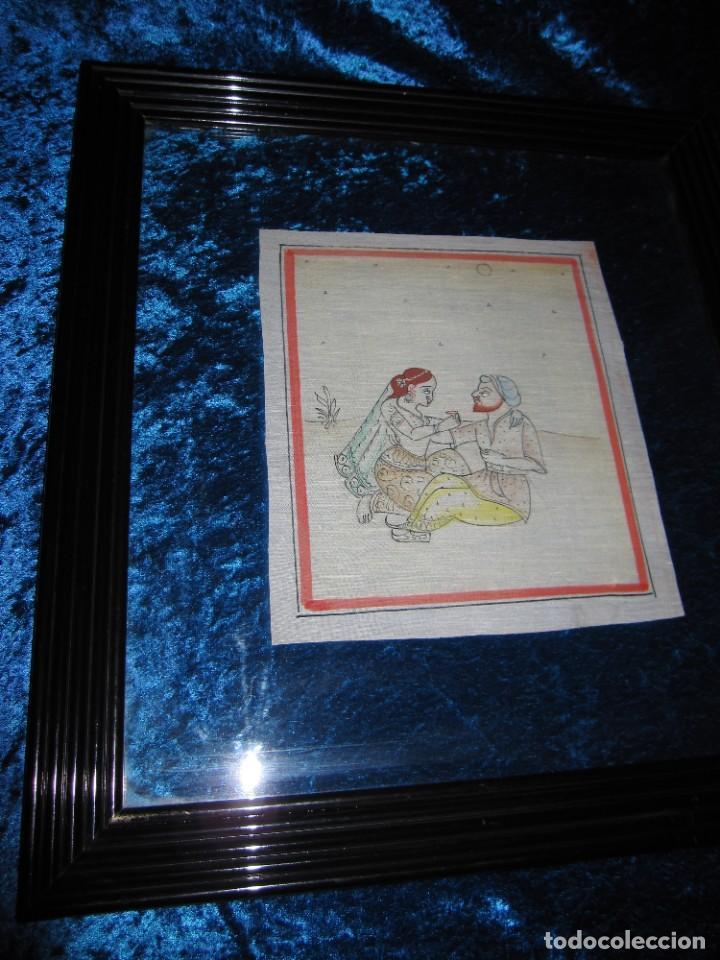 Arte: Cuadro pintura miniatura oriental India hindú seda doble cristal - Foto 22 - 232625322