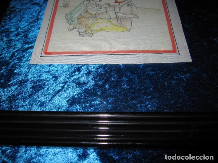 Arte: Cuadro pintura miniatura oriental India hindú seda doble cristal - Foto 23 - 232625322