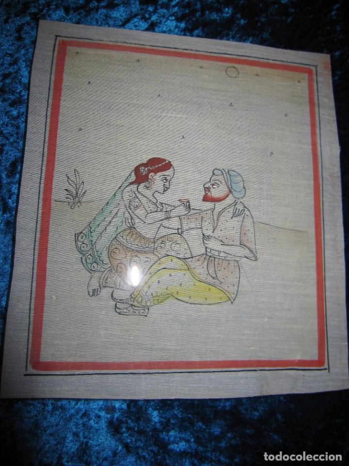 Arte: Cuadro pintura miniatura oriental India hindú seda doble cristal - Foto 25 - 232625322