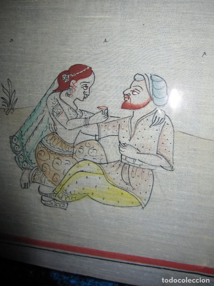 Arte: Cuadro pintura miniatura oriental India hindú seda doble cristal - Foto 28 - 232625322