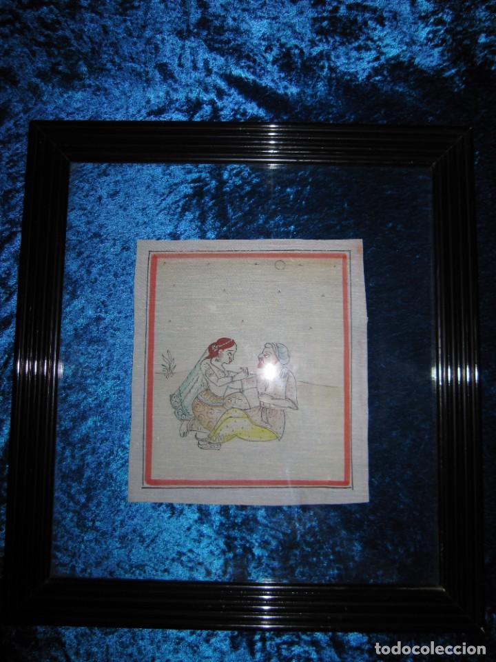 Arte: Cuadro pintura miniatura oriental India hindú seda doble cristal - Foto 31 - 232625322