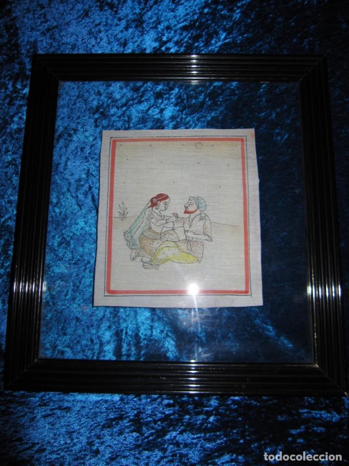 Arte: Cuadro pintura miniatura oriental India hindú seda doble cristal - Foto 32 - 232625322