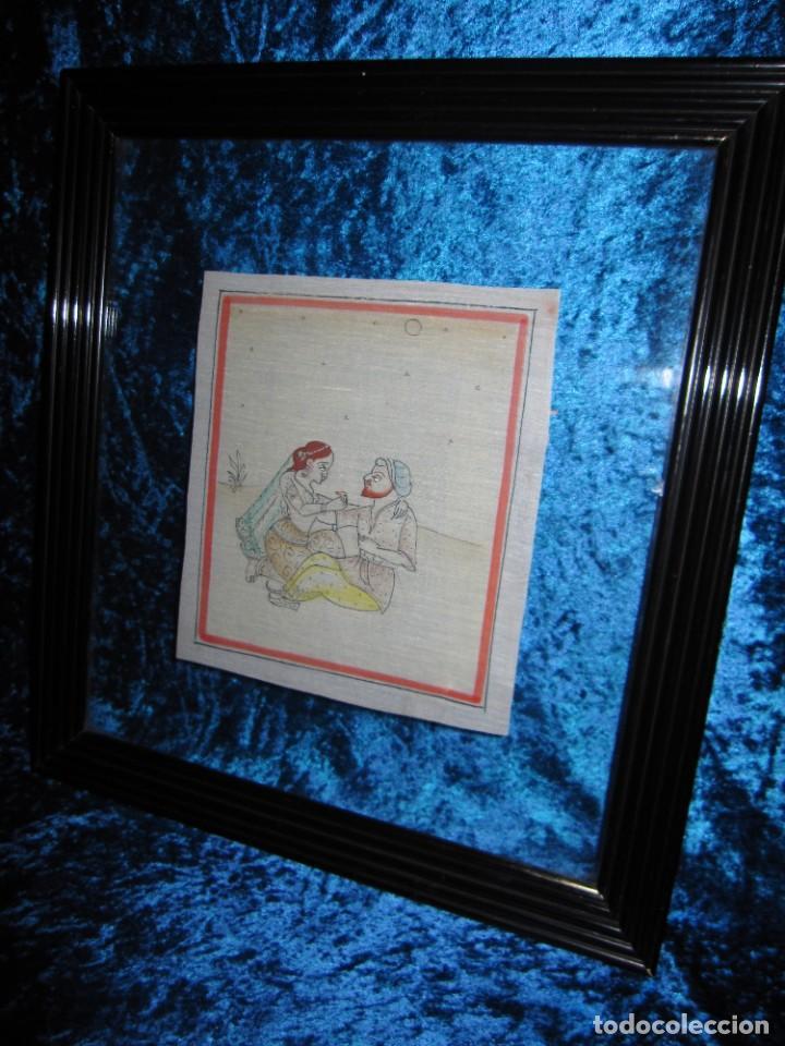 Arte: Cuadro pintura miniatura oriental India hindú seda doble cristal - Foto 33 - 232625322