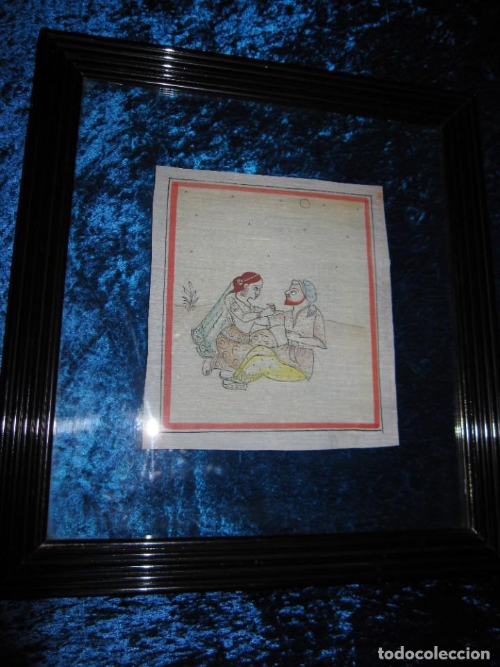 Arte: Cuadro pintura miniatura oriental India hindú seda doble cristal - Foto 39 - 232625322