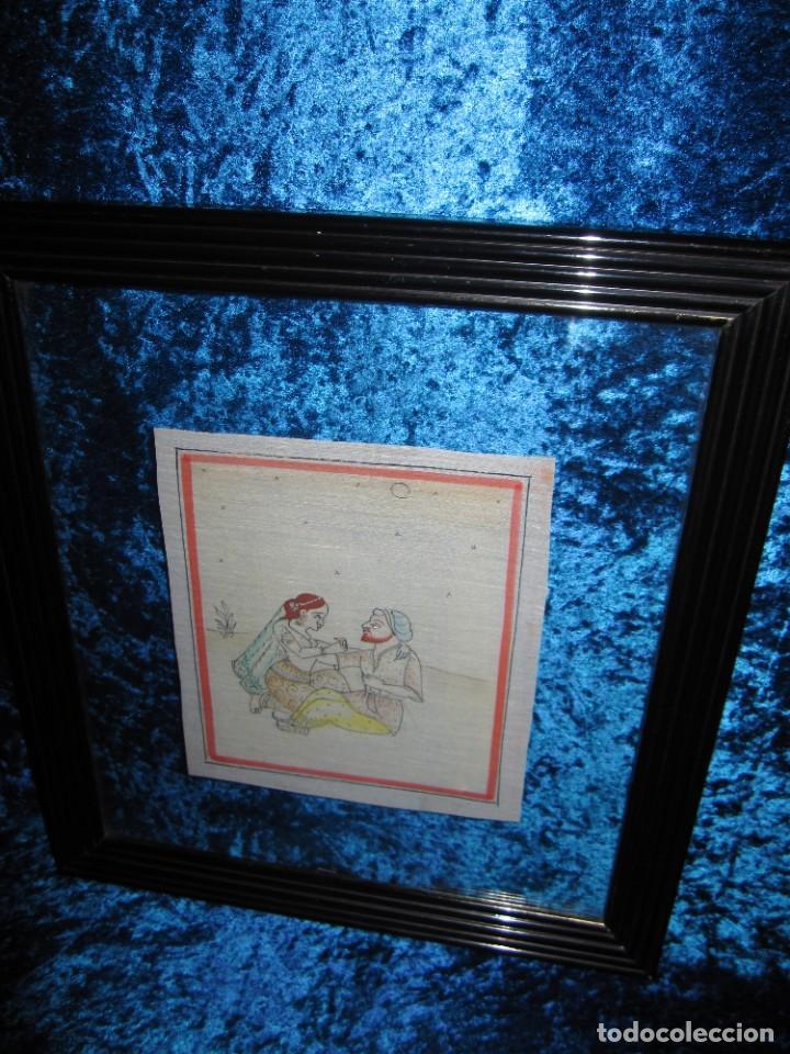 Arte: Cuadro pintura miniatura oriental India hindú seda doble cristal - Foto 40 - 232625322