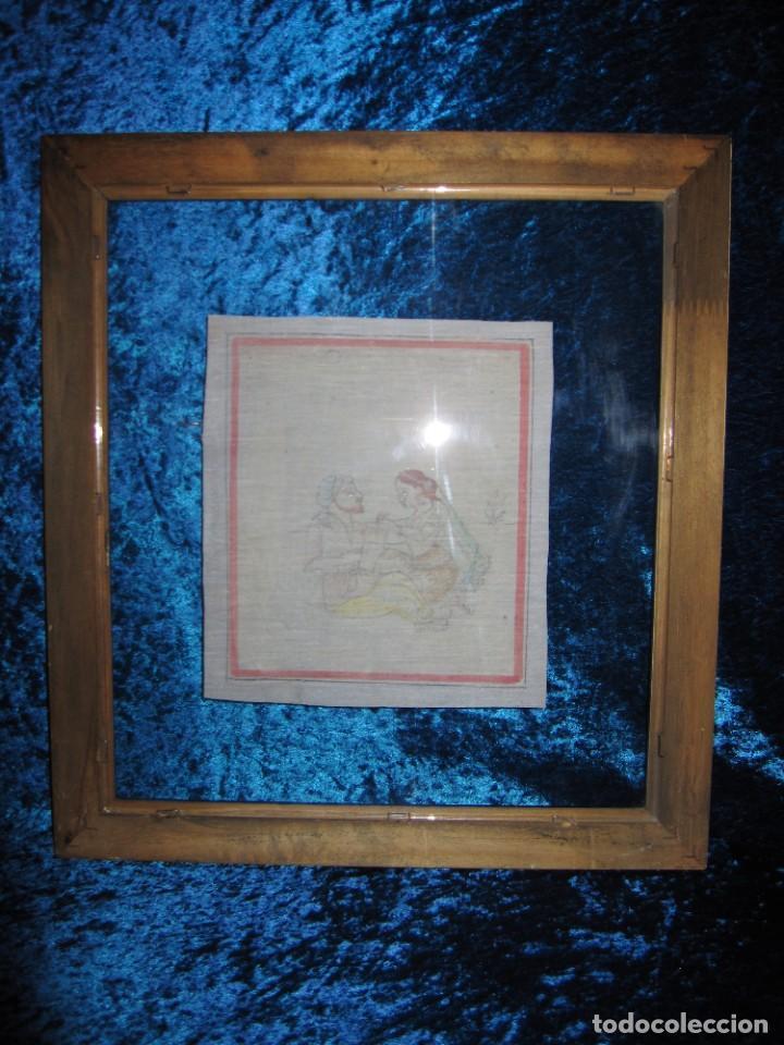 Arte: Cuadro pintura miniatura oriental India hindú seda doble cristal - Foto 41 - 232625322