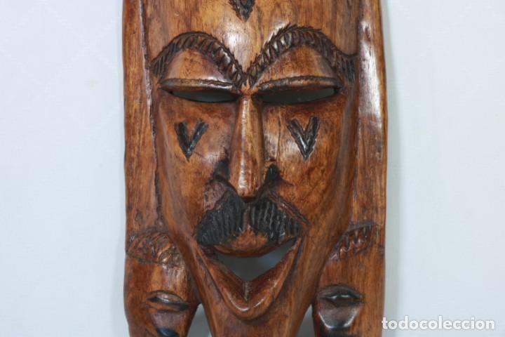 Arte: Antigua máscara africana de madera tallada a mano - 42 cm - Foto 3 - 233167230