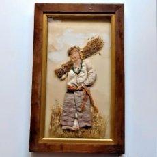 Art: UKRANI AN PEASANT GIRL ANTIGUO CUADRO RECREACION CHICA CAMPESINA - 25.5X41.CM MARCO MADERA Y CRISTAL. Lote 233306425