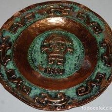 Arte: PLATO DE COBRE PERU DIOS AZTECA. Lote 233456755