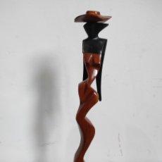 Arte: FIGURA DE MUJER, EN MADERA. ARTE ÉTNICO. PROCEDENTE DE CUBA.. Lote 233827440