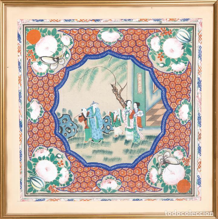 GOUACHE SOBRE PAPEL ESCENA ORIENTAL DINASTIA QING CHINA SIGLO XIX INTERIOR CAJA DE MANTÓN DE MANILA (Arte - Étnico - Asia)