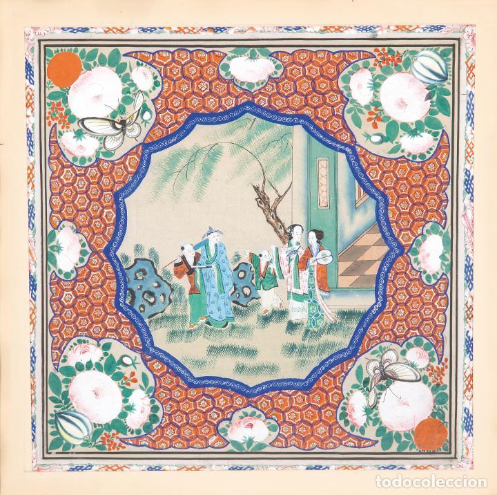 Arte: Gouache sobre papel Escena oriental Dinastia Qing China siglo XIX Interior caja de mantón de Manila - Foto 2 - 234770580